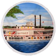 Steamboat On The Mississippi Round Beach Towel