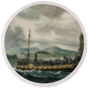 Steamboat Travel On The Hudson River Round Beach Towel