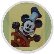 Steamboat Willy Round Beach Towel