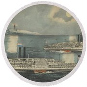 Steamboats Passing At Midnight On Long Island Sound Round Beach Towel