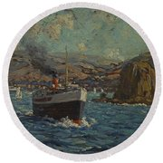 Steamer Leaving Avalon. Catalina Island Round Beach Towel