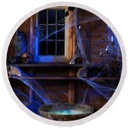 Steaming Cauldron In A Witch Cabin Round Beach Towel