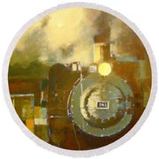 Steaming Up Mining Country Round Beach Towel
