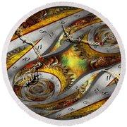 Steampunk - Spiral - Space Time Continuum Round Beach Towel