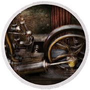 Steampunk - The Contraption Round Beach Towel