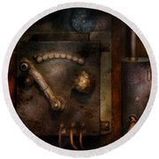 Steampunk - The Control Room  Round Beach Towel