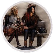Steampunk - Time Travelers Round Beach Towel by Mike Savad