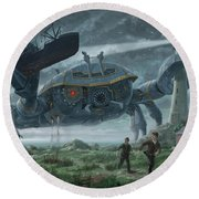 Steampunk Giant Crab Attacks Lighthouse Round Beach Towel