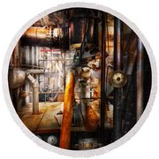 Steampunk - Plumbing - Pipes Round Beach Towel