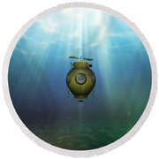 Steampunk Submarine Round Beach Towel