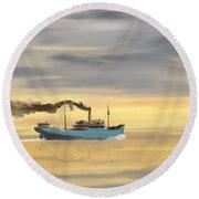 Steamship Freighter Heading Towards The Ocean Round Beach Towel
