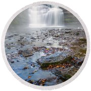 Steamy Morning At Pixley Falls Round Beach Towel