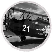 Stearman Biplane Round Beach Towel