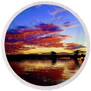 Steel Bridge Sunset Silhouette Round Beach Towel