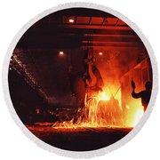Steel Mill--china Round Beach Towel