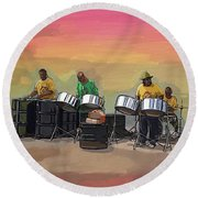 Steel Pan Players Antigua Round Beach Towel