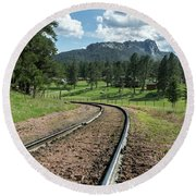 Steel Tracks In The Black Hills Round Beach Towel