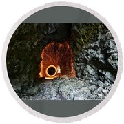 Steel Wool Photography In A Cave Round Beach Towel