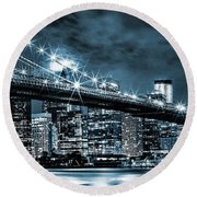Steely Skyline Round Beach Towel