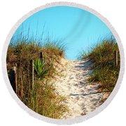 Steep Beach Path Round Beach Towel