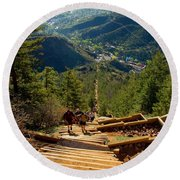 Steep Manitou Incline And Barr Trail Round Beach Towel