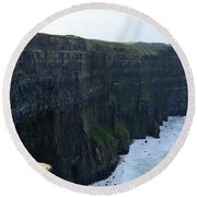 Steep Sheer Sea Cliff's Known As The Cliff's Of Moher Round Beach Towel
