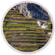 Steep Slope Viticulture In Valais Canton Round Beach Towel