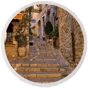 Steep Street In St Paul De Vence Round Beach Towel