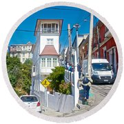 Steep Streets Up The Hills In Valparaiso-chile   Round Beach Towel