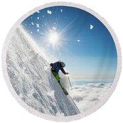 Steep Summer Volcano Skiing Round Beach Towel