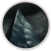 Steeple In The Clouds Round Beach Towel