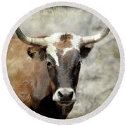 Steer Bull Round Beach Towel
