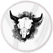 Steer Skull Tee Round Beach Towel
