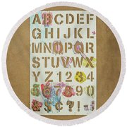 Stencil Alphabet Fun Round Beach Towel