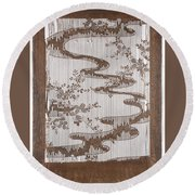 Stencil For Textile With Pattern Of Bush Clover And Meandering Stream Round Beach Towel