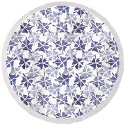 Stencilled Floral Round Beach Towel by Jocelyn Friis