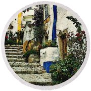Step Street In Obidos Round Beach Towel
