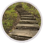 Step Trail In Woods 17 A Round Beach Towel