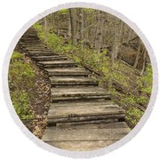 Step Trail In Woods 17 B Round Beach Towel