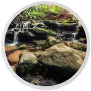 Stepping Cascade - Leura, Blue Mountains, Australia. Round Beach Towel