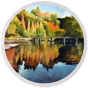 Stepping Stones Bolton Abbey Round Beach Towel
