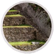 Steps And Terraces Round Beach Towel