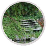 Steps In The Grass Round Beach Towel