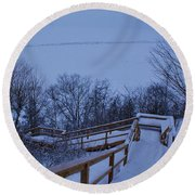 Steps Into Winter Round Beach Towel