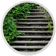 Steps With Ivy Round Beach Towel
