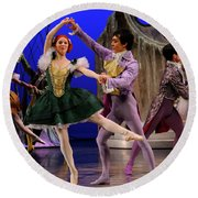 Stepsister Ballerinas En Pointe And Guests Ballroom Dancing In B Round Beach Towel