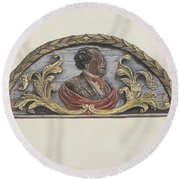 "Stern Board From Ship ""john Penrose"" Round Beach Towel"