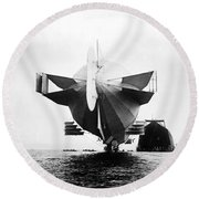 Stern Of Zeppelin Airship - 1908 Round Beach Towel
