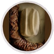 Stetson Hat And Cowboy Boot  Round Beach Towel