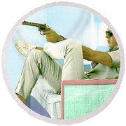 Steve Mcqueen, Colt Revolver, Palm Springs, Ca Round Beach Towel